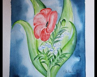 Original illustration painted in watercolor on ARCHES 300 g/m poppy & Lily