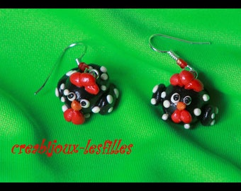 polymer clay earring small houndstooth black Christmas jewelry gift