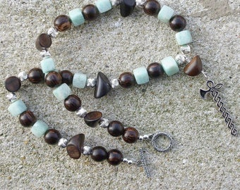 Necklace Scathach mixed H, F amazonite, silver and precious woods