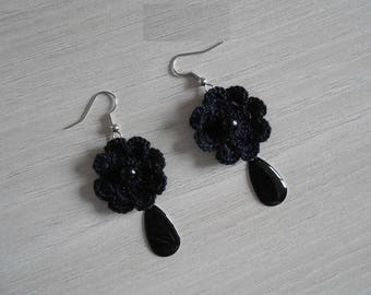 black lace cotton earrings