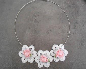 lace Necklace crochet flower