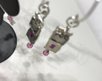 Handmade Breast Cancer Awareness Heart Earrings