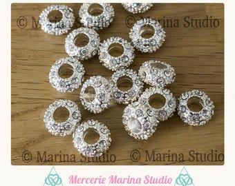 4 beads silver rhinestone 10x6mm for bracelet designs