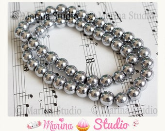 10 beads Hematite 8 mm silver grey for Shamballa MS18772