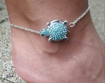 Blue turtle snap ankle bracelet