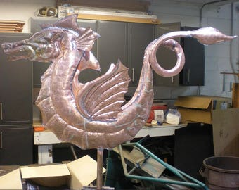 Made To Order Custom Copper Seahorse Lawn Art