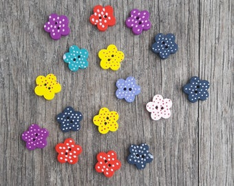 Promo: Set of 16 buttons 15mm, flowers, dots, red, yellow, blue, pink, purple / / ID N10