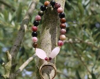 "Women ""Mahdia"" - multicolor tourmaline gemstone bracelet and its ""Crescent Moon"" plated gold - Crystal healing - boho chic - 255."