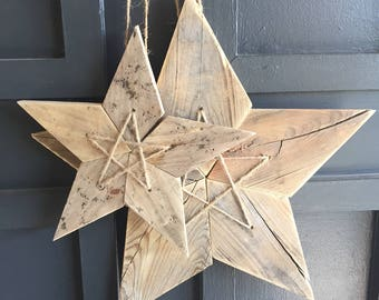 Groups of Two Reclaimed Weathered Wood 5 Point Stars - Medium and Large Sizes