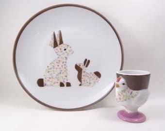 Plate and egg Cup, birthday gift, pink and chocolate