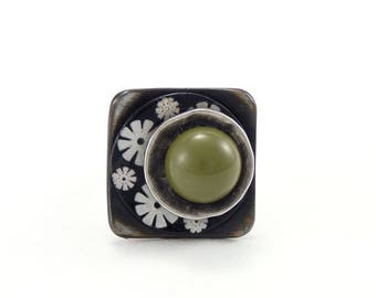 Small square ring JAPONÉ Green
