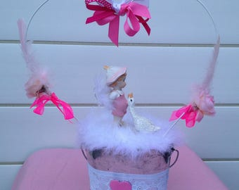 Pink and white girl christening centerpiece