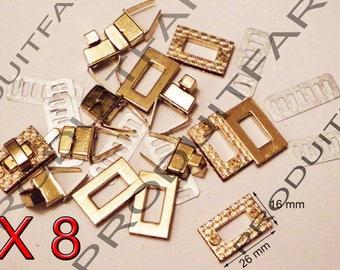 Set of 8 Gold Rose Twist turnstile clasp clutch bag Briefcase clasp Chrome 16 x 26 mm