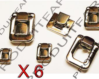 Set of 6 clasps chrome buckle latch lock for jewelry box chest box 40 * 27 mm screws included