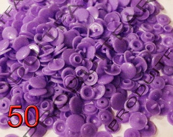 Set of 50 snap resin Kam T5 Color Purple 12 mm