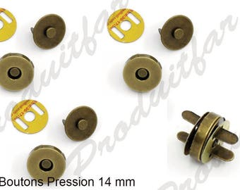 Snap button Bronze magnetic clasp Snaps set of 12 bags coat wallet 14 mm
