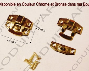 Set of 4 clasps gold latch lock box treasure chest box 24 22 screws included