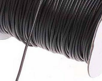 By the yard 2 mm black waxed cord