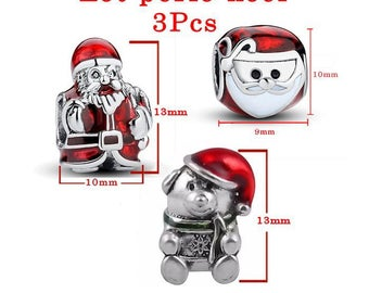 Set of 3 Christmas beads: Santa model B, head of Santa Claus and teddy bear hat. Red and antique silver color, size