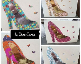 Shoe cards, womens shoes, stiletto shoes, stiletto heels, rockabilly shoes, birthday, handmade card, birthday card, greetings card, shoe art