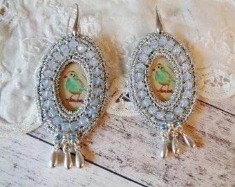 Czech glass earrings,Boho earrings,embroided earrings