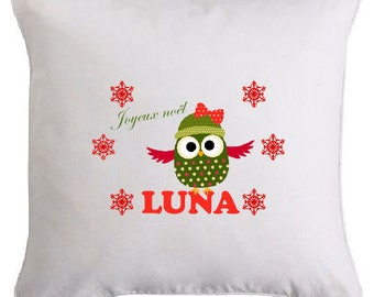 Personalized with the name of 4 christmas owl pillow