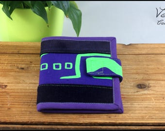 Purple and green wallet