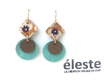 Green leather earrings / yellow, purple, gold patterns / lightweight earrings with hypoallergenic and anti oxidant clip