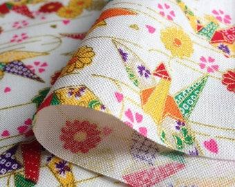 Japanese traditional motif crane origami, white, cotton 110 x 50 (085 (A)