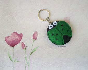 black and green felt Ladybug key chains