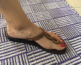 Leather Beaded Sandal Size 9