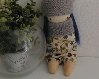 Hand stitched blue hair rag doll
