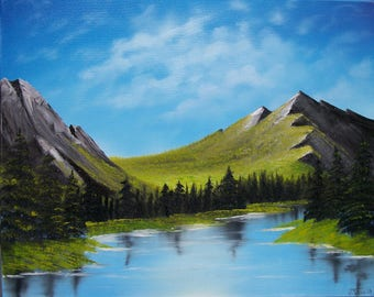 Landscape, Oil Painting, Grassy Mountain Lake