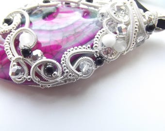 Allure * corset pendant large wire-wrapped agate Crystal stones
