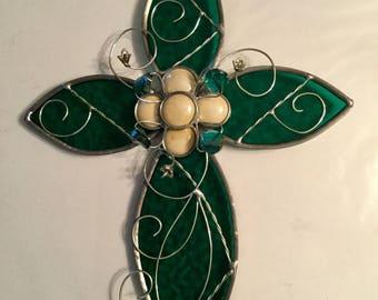 Stained glass cross suncatcher