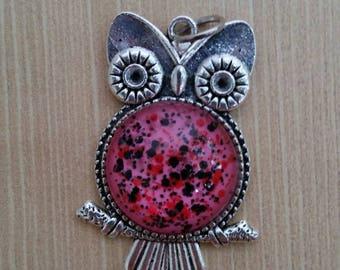 Pink Confetti Owl Pendant