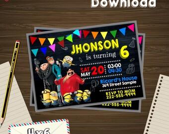 Minion invitation, minion birthday, minion PDF, minion editable, minion card, minion instant, minion Edit, minion instant download, minion
