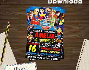 Instant download, Dc superhero invitation, Dc superhero birthday, Dc superhero PDF, Dc superhero editable, Dc superhero edit, Dc superhero