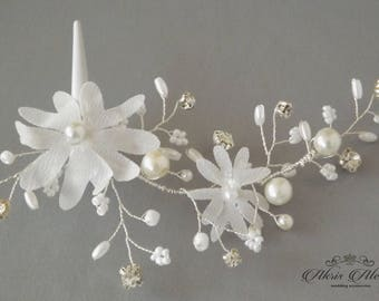 Bridal Headpieces, Silk Flowers Hair Clips, Rhinestone Pearls Wedding Hair Pieces, Gold Bridal Hair pins, Wedding Hair Clips