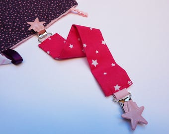 Blanket pattern pink clips stars tie