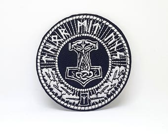 381# THORS HAMMER MJOLNIR Round Biker Skinhead Iron/Sew on Embroidered Patch