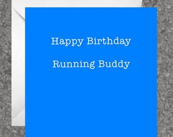 Greetings card for runners / running friend - Happy Birthday Running Buddy