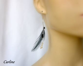 Madder - Earrings feathers black and white