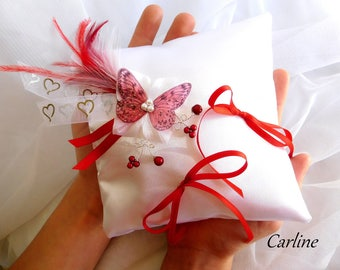 Wedding ring pillow wedding White Satin tie ribbons flowers red feathers Original Turquoise and white