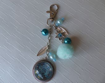Turquoise Blue Mandala bag charm