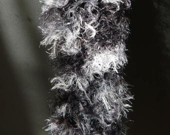 fancy hand made black and gray scarf