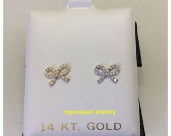 14k-Yellow-or-White- Real Gold-Bow-Stud-CZ Earrings--Baby/Children-Safe-Screwbacks