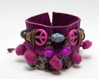 Love and peace Purple Leather Cuff Bracelet