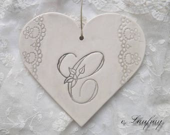 Big heart shabby chic ceramic and lace, original prints ' This weathered gray