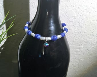 Blue and White Stretch Bracelet with Dangle